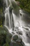 Plan rapproché de cascade à écriture ligne par ligne avec des roches Images stock