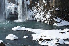 Plan rapproché de cascade congelée Godafoss, Islande Photo stock
