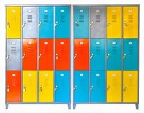 Plan rapproché de casiers de couleur d'école Photographie stock