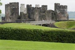 Plan rapproché de château de Caerphilly image stock