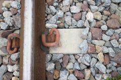 Plan rapproché de chemin de fer rouillé Photographie stock libre de droits