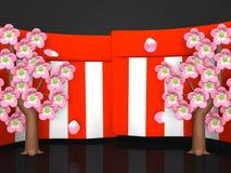 Plan rapproché de Cherry Blossoms And Red-White Curtains sur le fond noir Images libres de droits