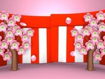 Plan rapproché de Cherry Blossoms And Red-White Curtains sur le fond rose Image libre de droits