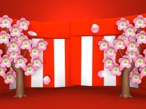 Plan rapproché de Cherry Blossoms And Red-White Curtains sur le fond rouge Photo stock
