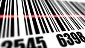 Plan rapproché de code barres de balayage de scanner Images libres de droits