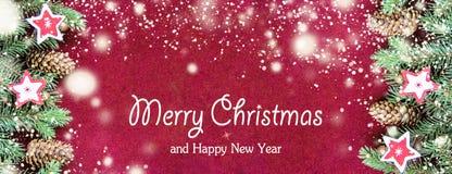 Plan rapproché de concept de carte de Noël avec des décorations d'arbre photographie stock