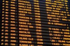 Plan rapproché de conseil de programme de station de train Images stock