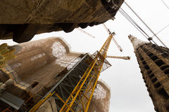 Plan rapproché de construction de Sagrada Familia Image stock
