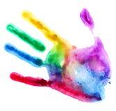 Plan rapproché de copie colorée de main sur le fond blanc Photos libres de droits