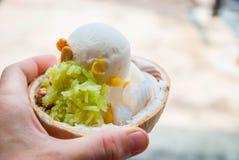 Plan rapproché de crème glacée de noix de coco à disposition Photographie stock libre de droits