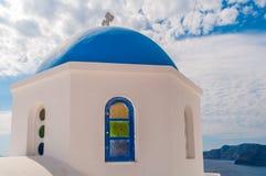 Plan rapproché de dôme d'église de Santorini Images libres de droits