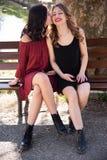 Plan rapproché de deux amis s'asseyant sur un banc par un lac, une blonde l'autre brune, ils embrassent images stock