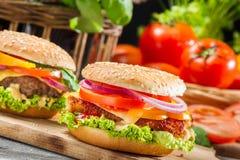 Plan rapproché de deux hamburgers faits maison faits à partir des légumes frais Image stock