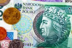 Plan rapproché de devise étrangère de la Pologne de currencie d'International d'argent Photos libres de droits