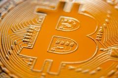 Plan rapproché de devise de pièce de monnaie de monet de Bitcoin Images libres de droits