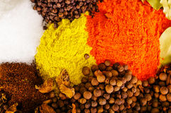 Plan rapproché de différentes piles ci-dessus des épices colorées, du bel arrangement rustique, de l'épice et du concept de fines Photographie stock libre de droits