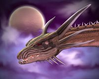 Plan rapproché de dragon dans le clair de lune illustration de vecteur