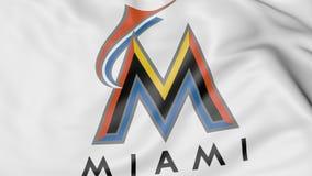 Plan rapproché de drapeau de ondulation avec le logo d'équipe de baseball de Miami Marlins MLB, rendu 3D illustration libre de droits