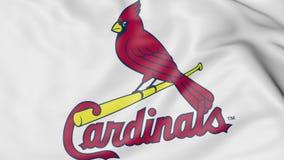 Plan rapproché de drapeau de ondulation avec le logo d'équipe de baseball de St Louis Cardinals MLB, rendu 3D Photo stock