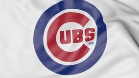 Plan rapproché de drapeau de ondulation avec le logo d'équipe de baseball des Chicago Cubs MLB, rendu 3D Image libre de droits