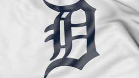 Plan rapproché de drapeau de ondulation avec le logo d'équipe de baseball des Detroit Tigers MLB, rendu 3D Photos stock