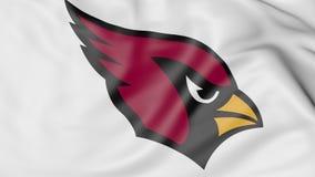 Plan rapproché de drapeau de ondulation avec le logo d'équipe de football américain de NFL d'Arizona Cardinals, rendu 3D Photos libres de droits