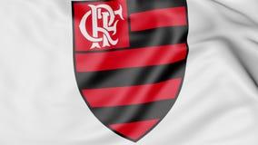 Plan rapproché de drapeau de ondulation avec le logo de club du football de Clube de Regatas do Flamengo, rendu 3D Images libres de droits