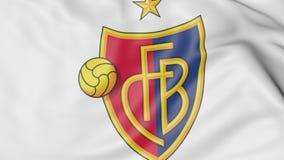 Plan rapproché de drapeau de ondulation avec le logo de club du football de FC Basel, rendu 3D Photo libre de droits