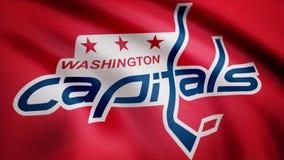 Plan rapproché de drapeau de ondulation avec le logo d'équipe de hockey de NHL de Washington Capitals, boucle sans couture Animat illustration de vecteur