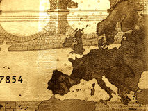 Plan rapproché de facture de 10 euro, détaillé Photographie stock