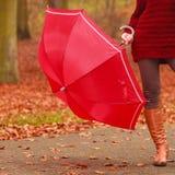 Plan rapproché de femme dans les bottes brunes avec le parapluie Photographie stock libre de droits