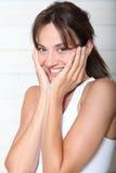 Plan rapproché de femme heureuse Images libres de droits