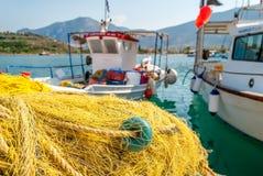 Plan rapproché de filet de pêche de Traditionnal dans Palaia Epidaurus, Grèce images libres de droits