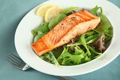 Plan rapproché de filet saumoné grillé avec les haricots verts Photos libres de droits