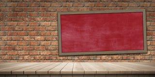 Plan rapproché de fond en bois coloré de plate-forme et de tableau noir/tableau, vue de face illustration libre de droits