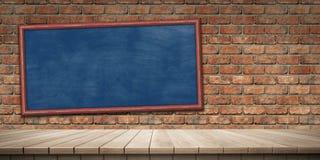 Plan rapproché de fond en bois coloré de plate-forme et de tableau noir/tableau, vue de face illustration de vecteur