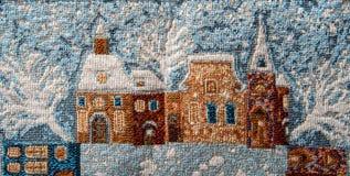 Plan rapproché de fragment de tapisserie de gobelin avec le thème d'hiver Image libre de droits
