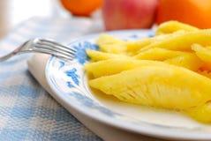 Plan rapproché de fruit frais coupé d'ananas Image libre de droits
