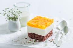 Plan rapproché de gâteau avec les pêches et la gelée sur le livre blanc image stock