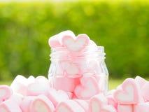Plan rapproché de guimauve douce sous forme de coeur de plat et de fleur en bois au fond Photo libre de droits