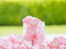Plan rapproché de guimauve douce sous forme de coeur de plat et de fleur en bois au fond Photographie stock libre de droits
