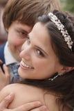 Plan rapproché de jeunes mariés Image libre de droits