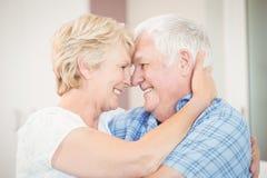 Plan rapproché de l'embrassement supérieur heureux de couples Images libres de droits