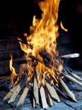 Plan rapproché de l'incendie en bois pour le barbecue Photographie stock libre de droits