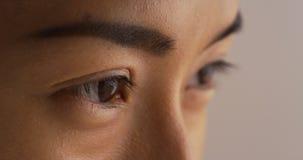 Plan rapproché de l'oeil de la femme japonaise célibataire image stock