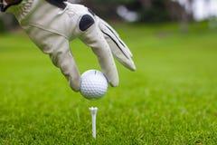 Plan rapproché de la boule de golf de prise de la main de l'homme avec la pièce en t dessus Images stock