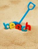 Plan rapproché de la plage de mot photographie stock libre de droits