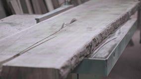 Plan rapproché de la planche en bois sur la machine de travail du bois dans un atelier de menuiserie, charpentier à l'aide de l'a banque de vidéos