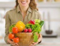 Plan rapproché de la plaque des légumes à disposition de la femme Photo libre de droits