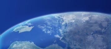 Plan rapproché de la terre avec l'atmosphère Image libre de droits